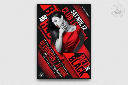 Black & Red Party Flyer Template V1, Background Poster design Invitation for photoshop