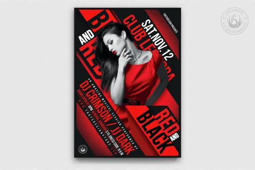 Black & Red Party Flyer Template V1, Background Poster design Invitation for photoshop