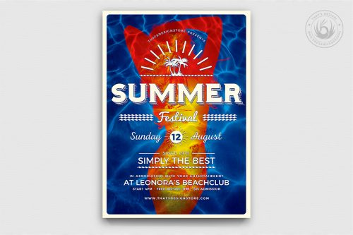 Summer Fest Flyer Template psd download for beach party