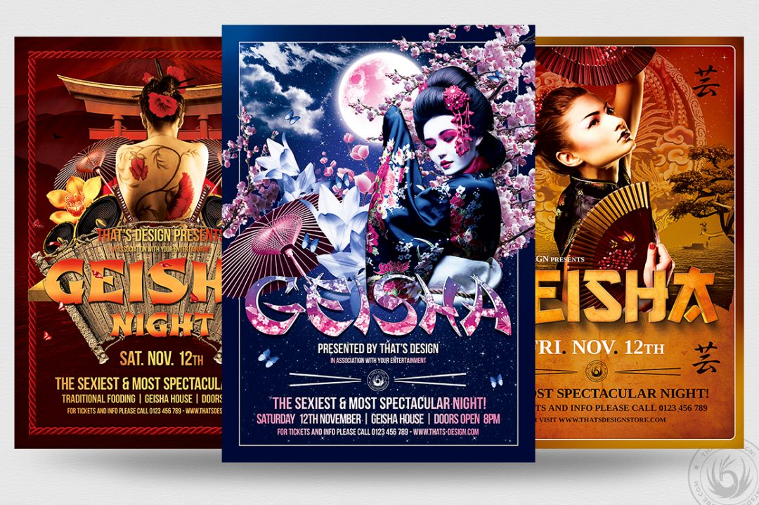 Geisha party flyer templates for Photoshop