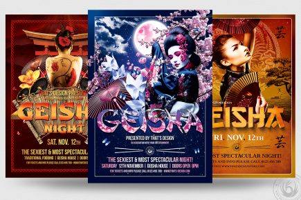 Geisha party PSD flyer templates for Photoshop