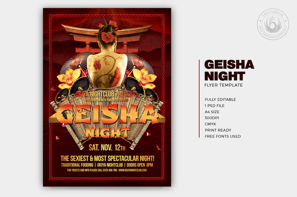 Asian flyers posters, Geisha Night Party Flyer Template psd, japanese music