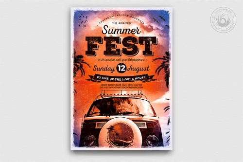 Summer Fest Poster Template for any beach party,festival, club or cocktails bar event. Pool or garden party with Dj set mixing chillout, lounge music for a tropical sunset, summer camp holidaysFest Poster Template