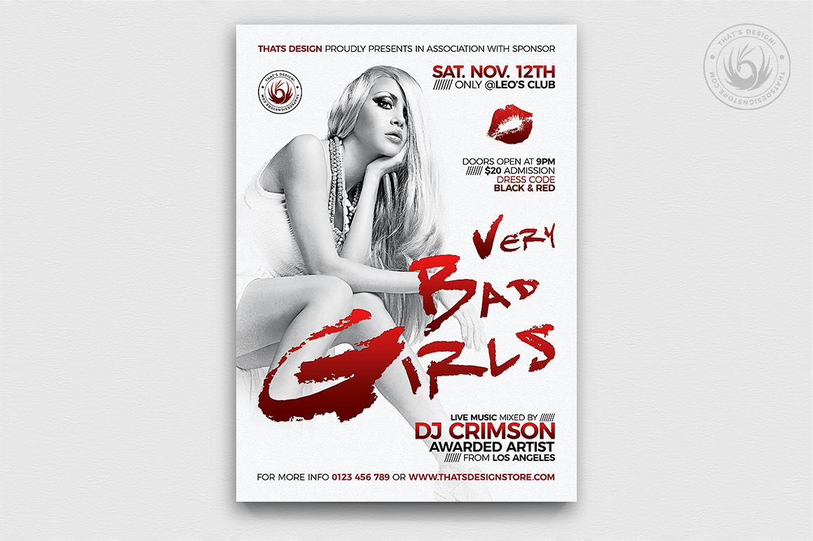 Bad Girls Flyer Poster PSD Template
