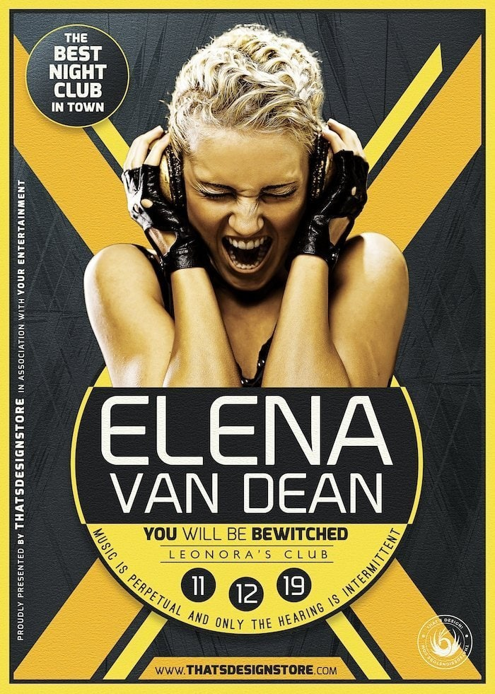 Club flyers template, Dj party psd poster