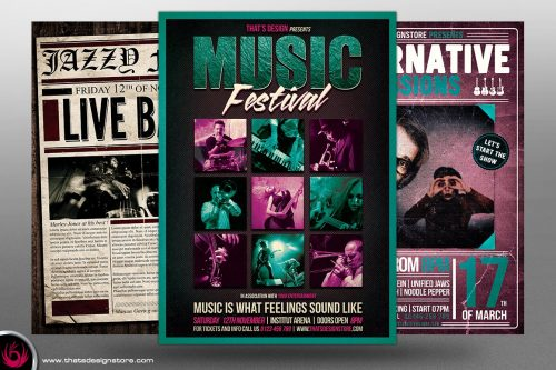 Concert Live Flyer Bundle Template 3