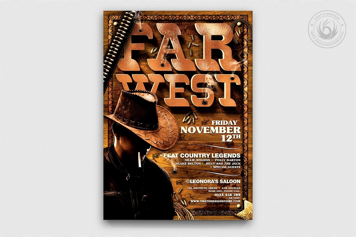 Western wild west Rodeo themed posters Templates. Farwest Flyer Template