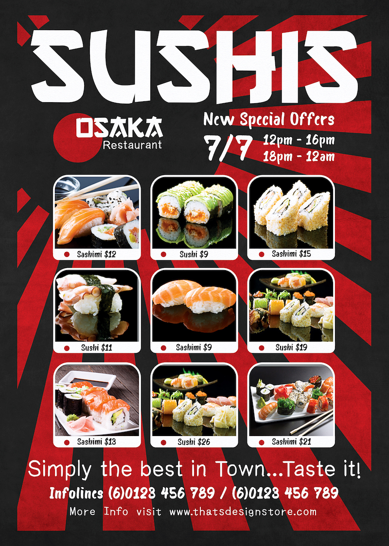 Sushi Delivery Flyer Template 2 sides