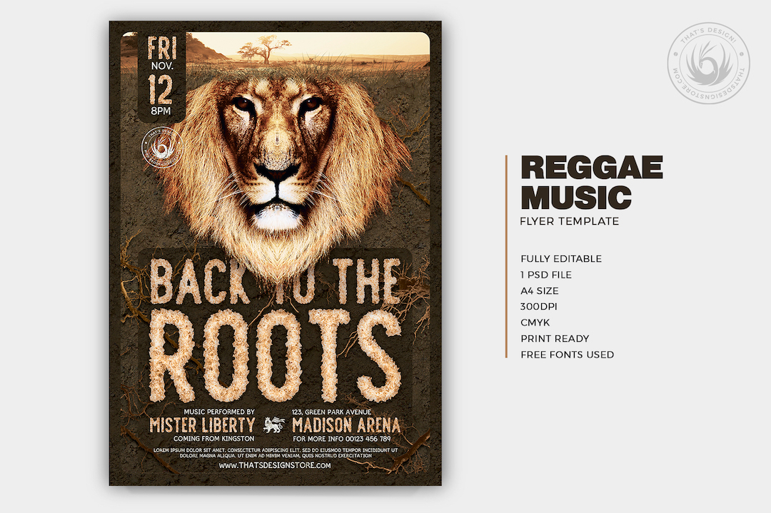 Reggae Flyer Template PSD for photoshop, back to the roots