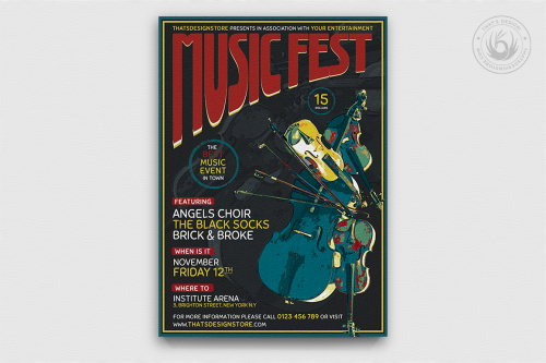 Music Festival Flyer Template PSD download V6
