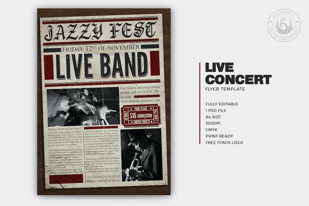 Live Concert Flyer Template PSD download V8