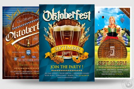 Oktoberfest Flyer Templates for Photoshop Bundle / Beer Party psd design