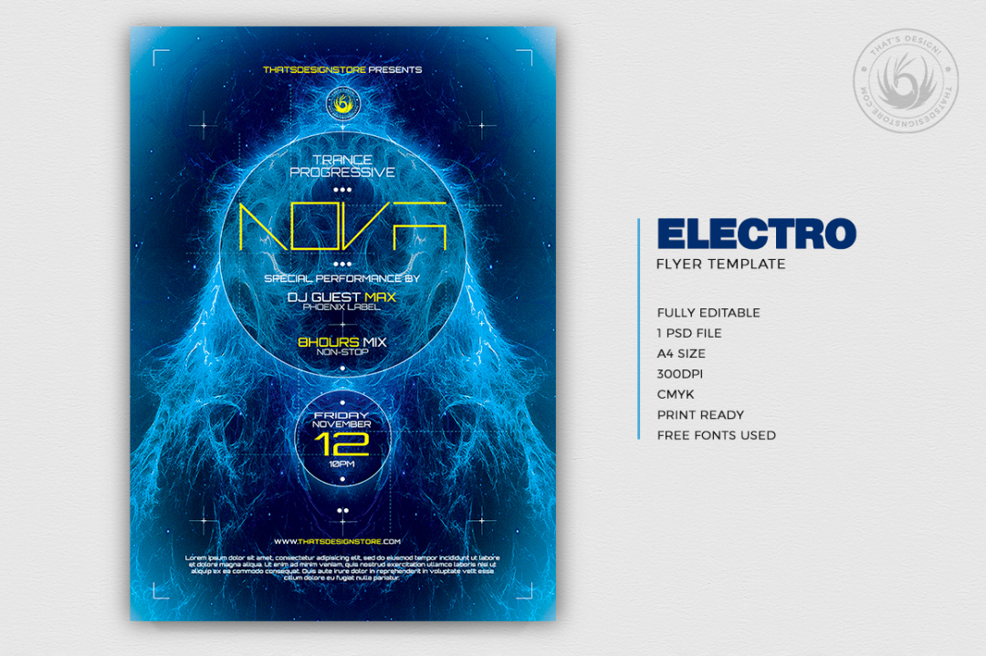 Electro flyer poster template psd for DJ Clubbing Party, Dubstep, Alternative, Trance, House music event...