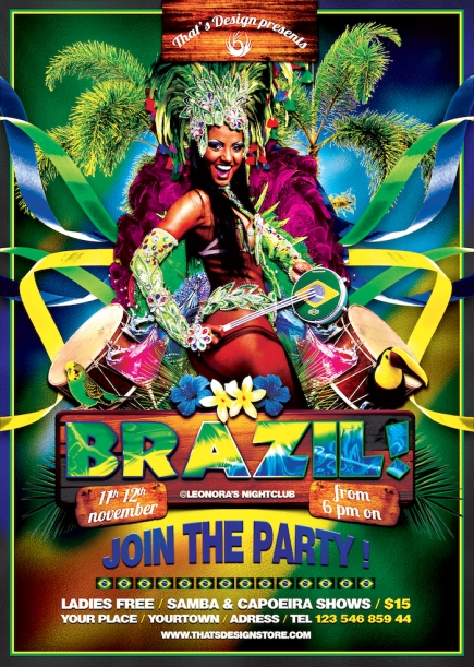 Brazilian Show Flyer Template PSD design for Photoshop