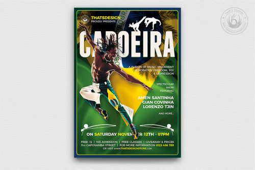 Capoeira Flyer Template PSD design for Photoshop, brazilian poster