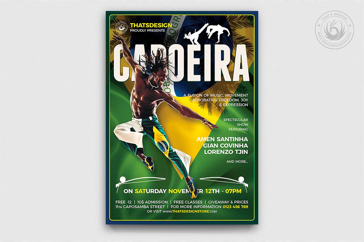 Capoeira Flyer Template PSD design for Photoshop, brazilian poster