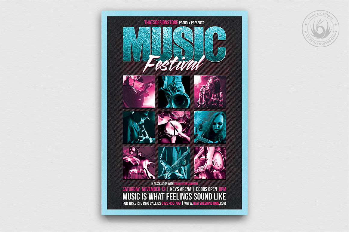 Music Festival Flyer Template PSD download, Concert Live band poster