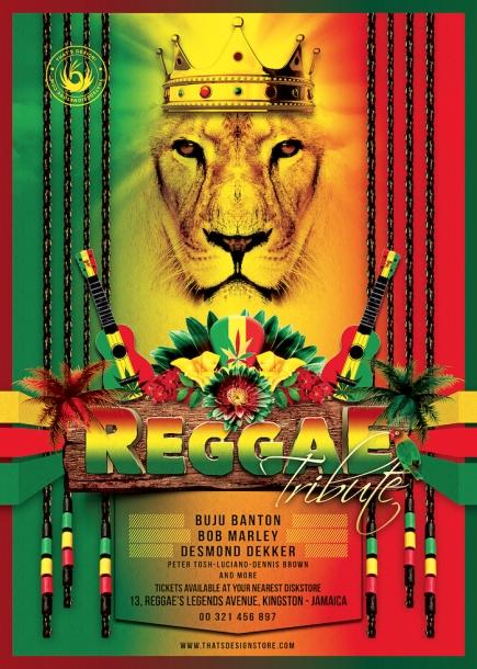 Reggae Tribute Flyer Template, Rasta PSD Flyer