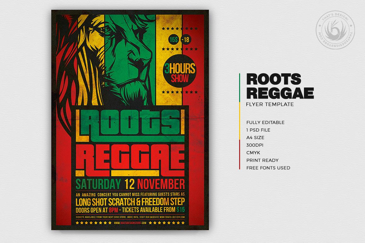 Roots Reggae Flyer Template, Rasta Psd Flyers design