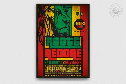 Roots Reggae Flyer Template, Rasta Psd Flyers design