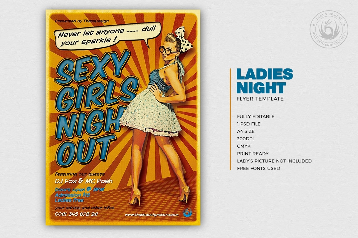 Ladies Night Flyer Poster Template to Download for Photoshop