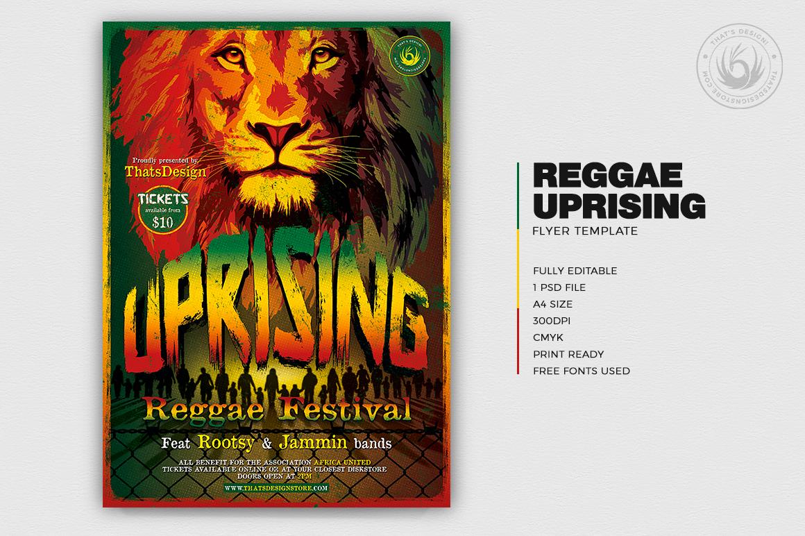 Reggae Uprising Flyer Template, Rasta PSD Flyer