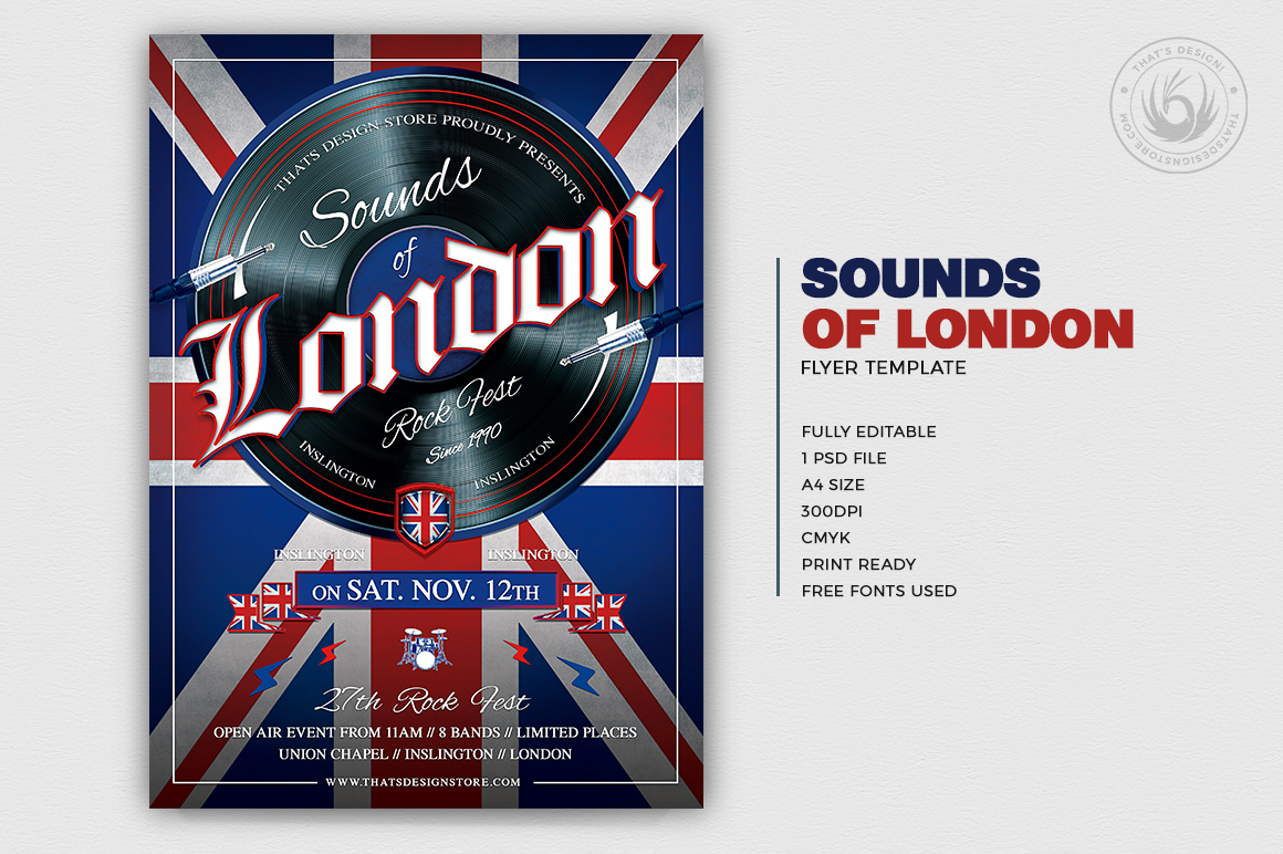 Sounds of London Flyer Template English Dj set Party PSD