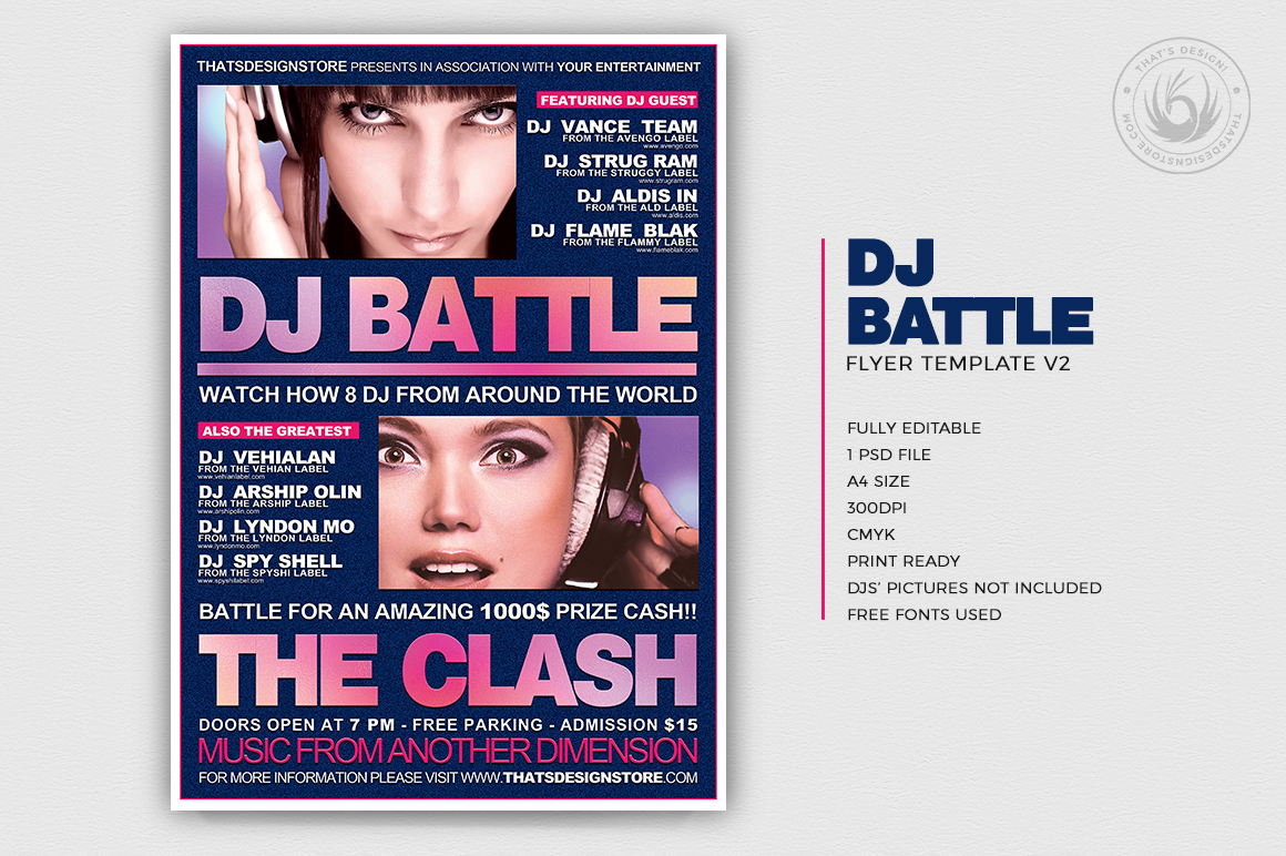 DJ Battle Flyer Template PSD download V2