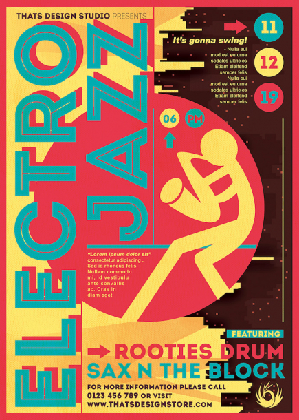 Electro Jazz Flyer Template Psd download to customize with photoshop