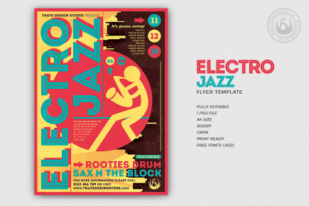 Electro Jazz Flyer Template PSD for photoshop