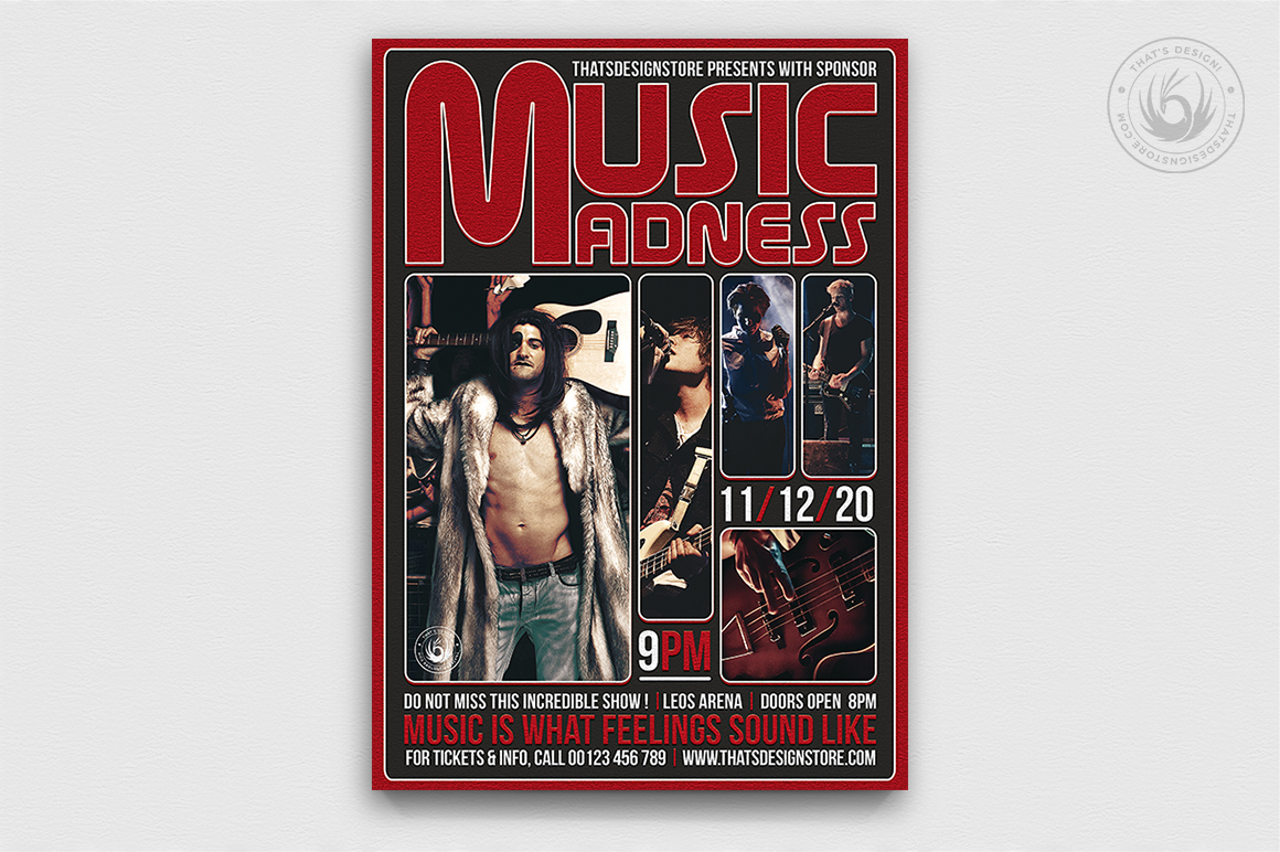 Live Concert Flyer Template PSD download V8, indie music pop rock band posters