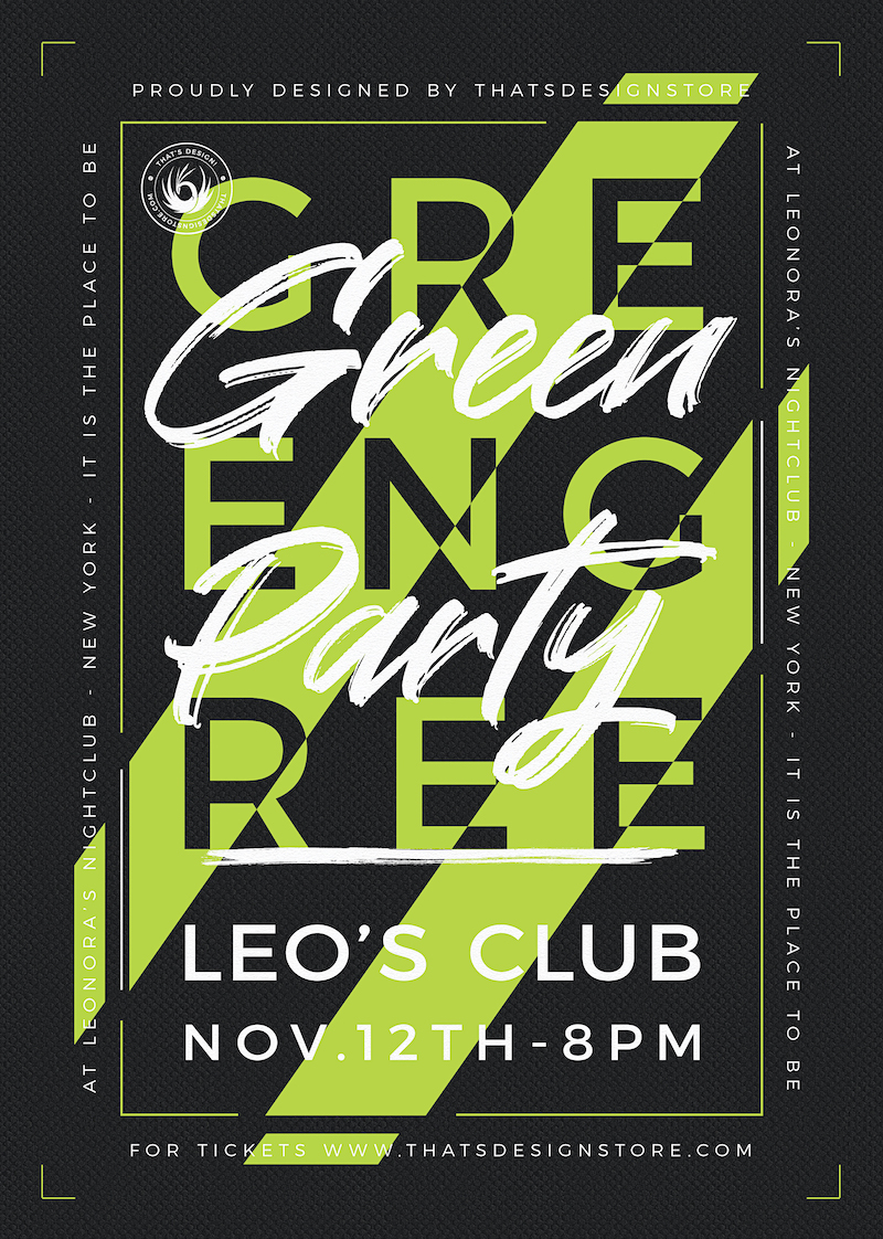 Color Themed Green Party Flyer Template PSD download