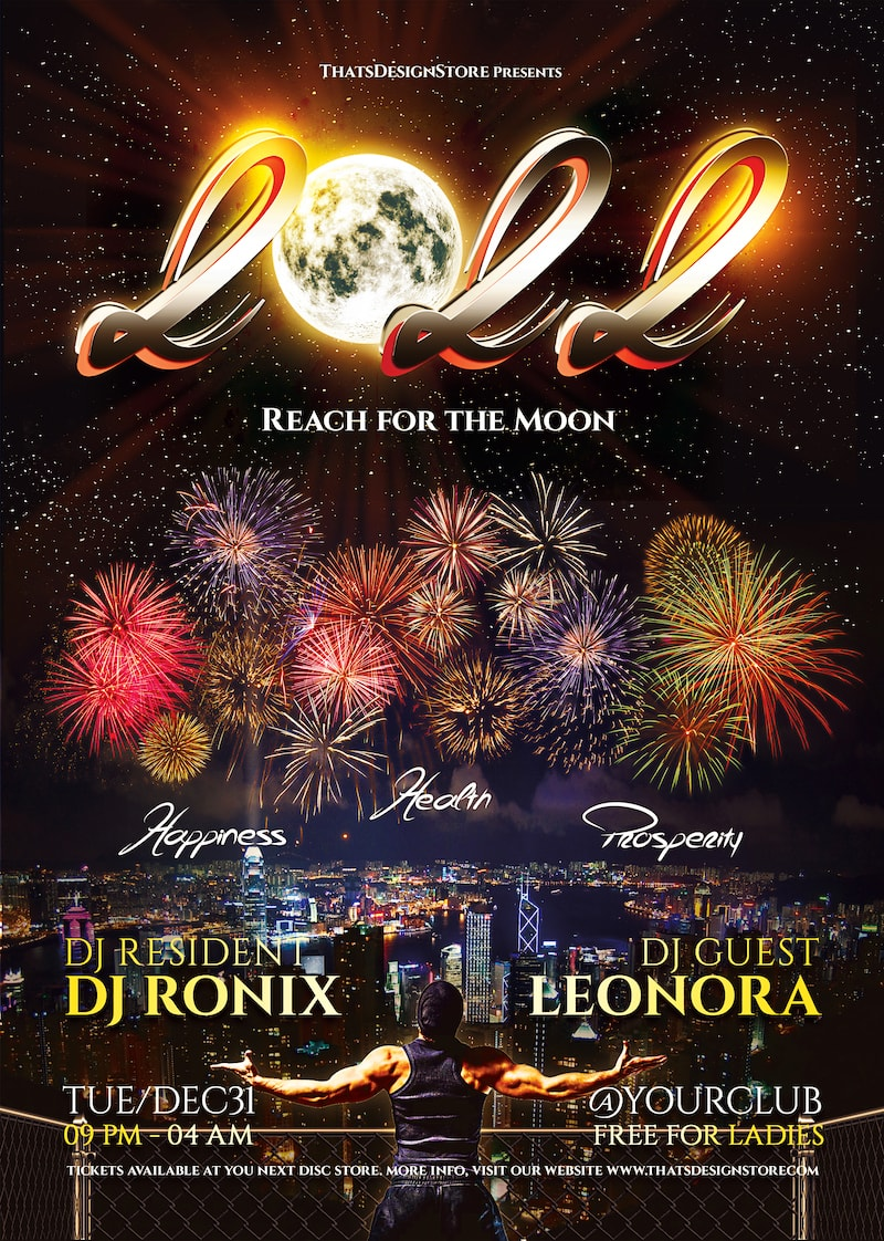 New Year Flyer Template psd design download V1