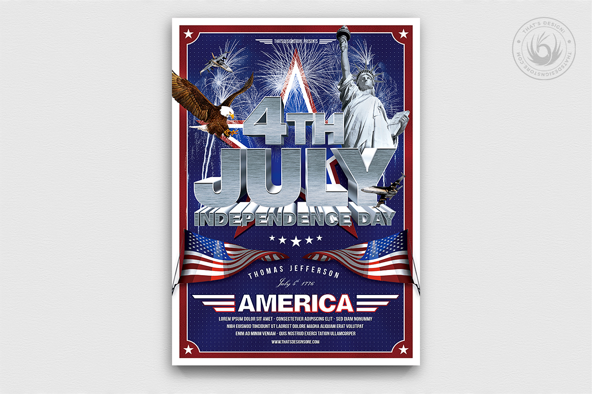 July 4 party flyers posters / Independence Day flyer Template V1