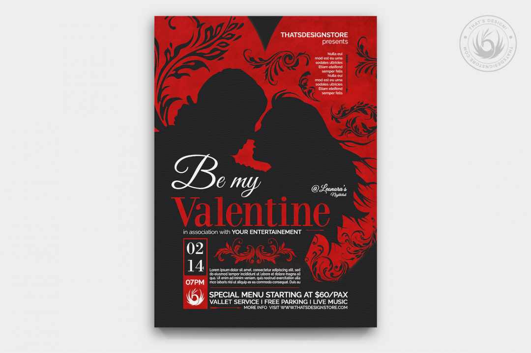 Valentine's Day Flyer Template V6 love Psd download to customize with photoshop