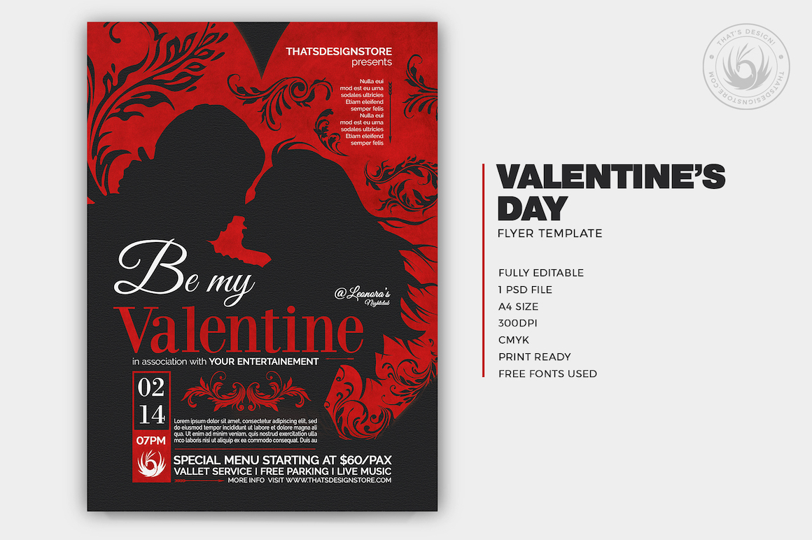 Valentines Day Flyer Template Psd Design For Photoshop V6