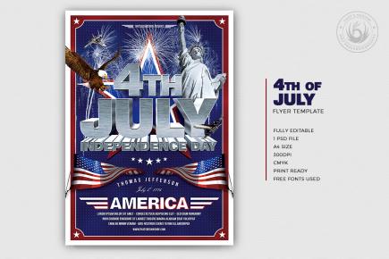 July 4 Independence Day flyer Template V1