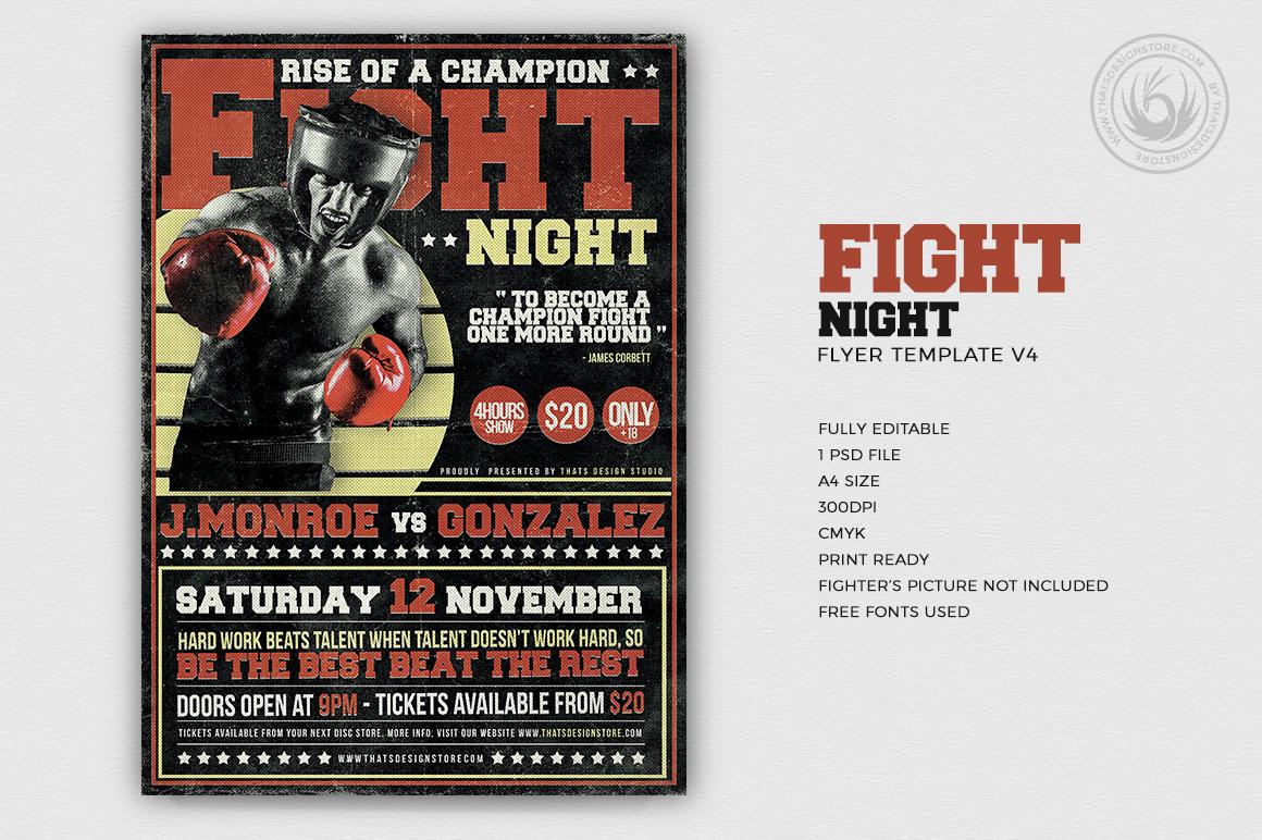 fight night flyer template v4