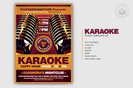 Karaoke Night PSD flyer poster templates download, room, bar, contest, Open mic