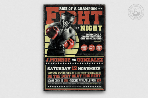 Fight Night Boxing Flyer Template psd design download v4