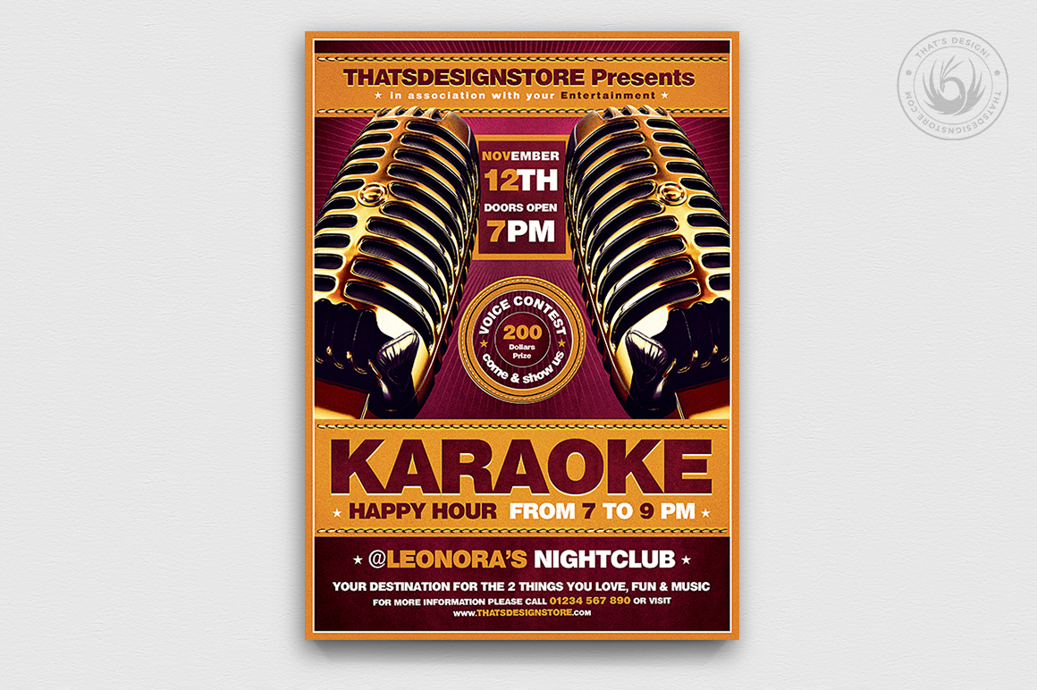 Karaoke Night Party PSD flyer templates poster download, room, bar, contest, Open mic