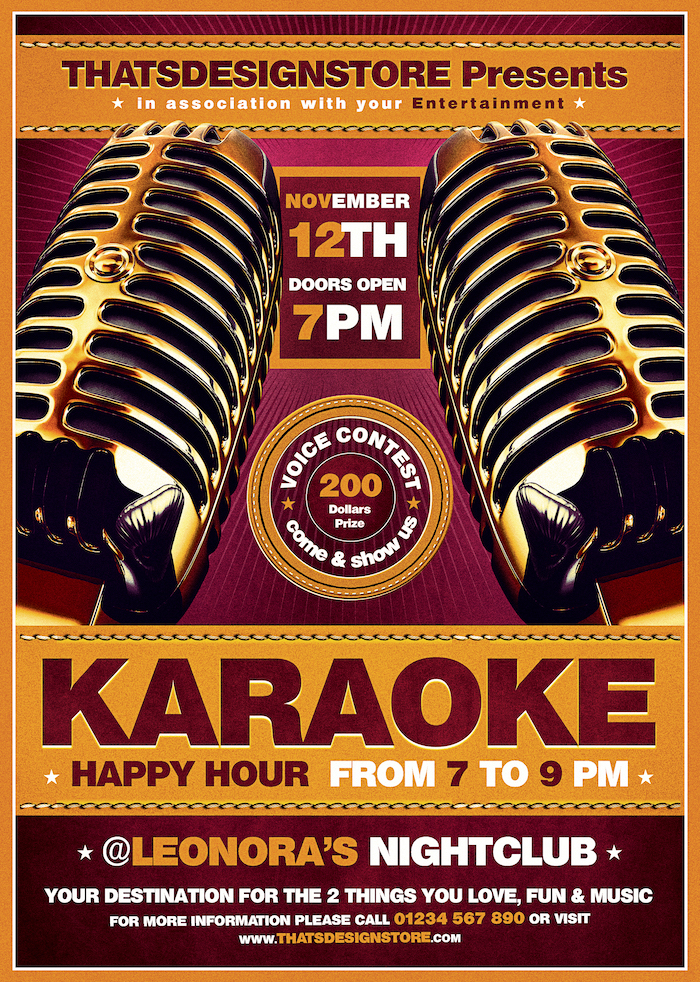 Karaoke Night PSD flyer poster templates download, room, bar, contest, Open mic