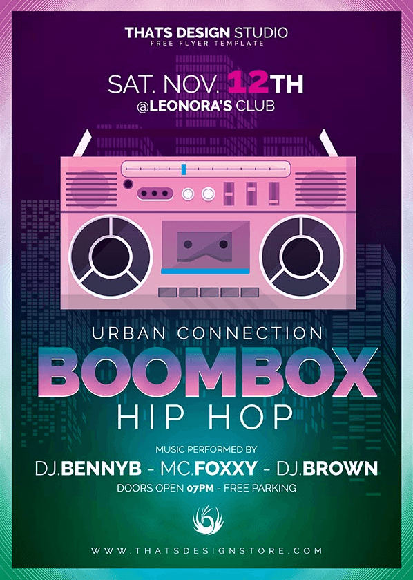 FREEBIES - Boombox Hip Hop Free Flyer