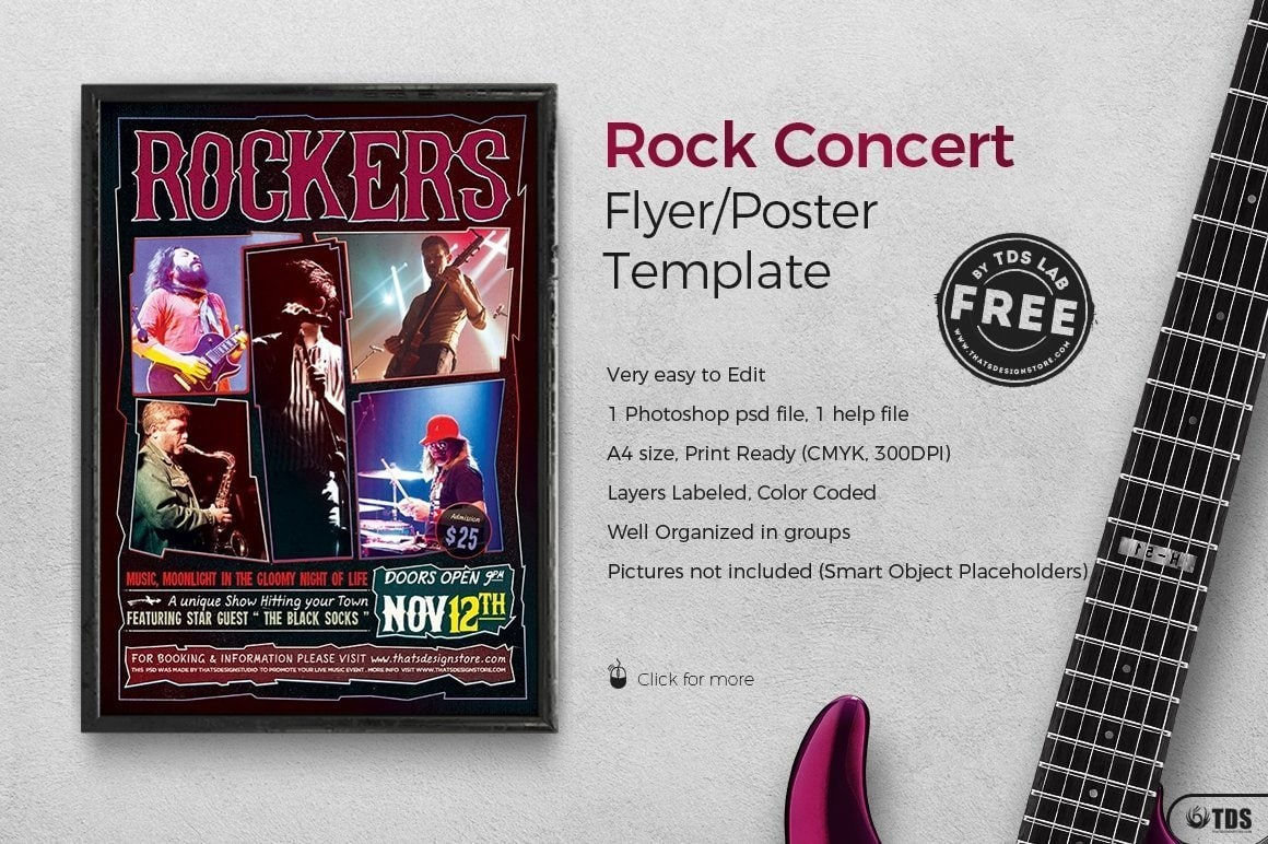 Freebies concert Rock Free printable Flyer Templates for festival event, Download live band posters psd design