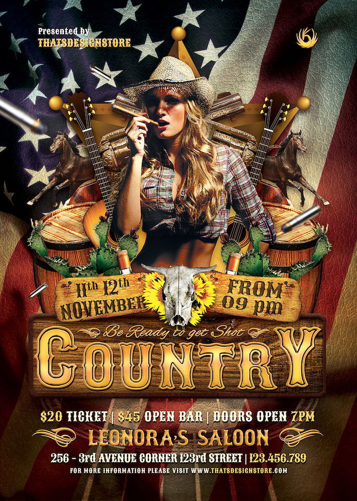 Country Live flyer template psd download / farwest Western poster design, rodeo bike cowboy in a coyote bar