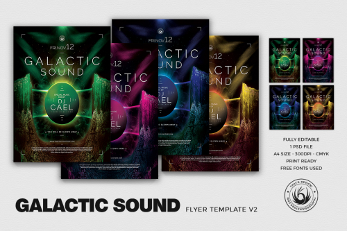 Electro Flyer Templates Design PSD For Photoshop, Galactic Sound club poster Template PSD Download V2