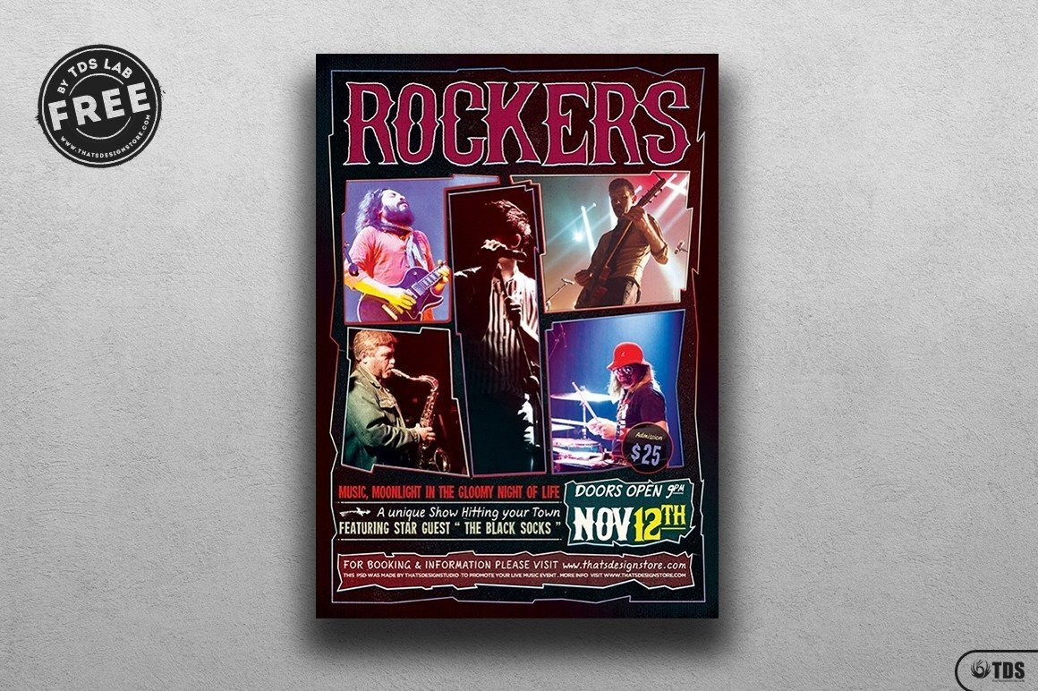 photo regarding Flyers Printable Schedule named Rock Live performance Absolutely free Flyer ThatsDesign! Keep
