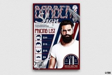 Barber Shop Flyer Template psd download