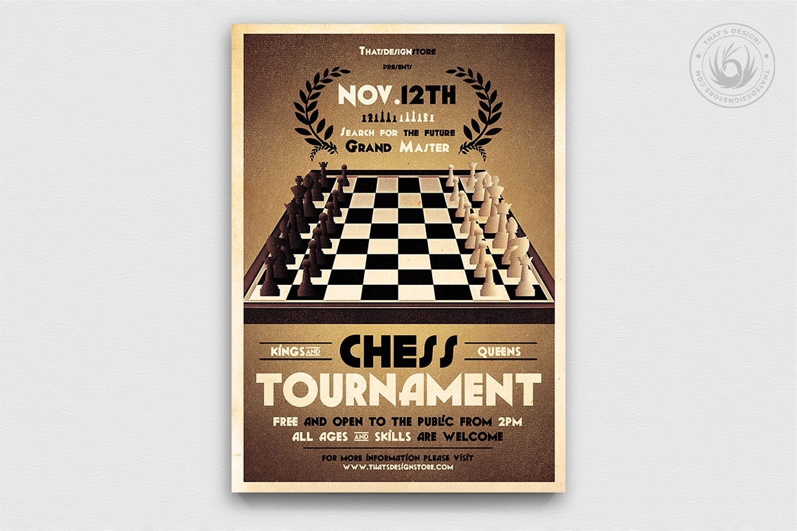 Chess Club Flyer Template PSD for tournament