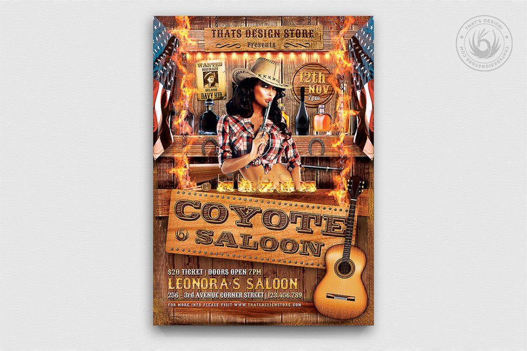 Coyote bar Flyer Template PSD download, Wanted flyers farwest Western music template, rodeo bike cowboy in a coyote bar